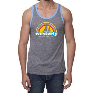 Vintage Grey Ringer Tank Top with Pool blue neck and arm bands with a picture of a retro rainbow, a silhouette of a sailboat and the words Westerly, Rhode Island.