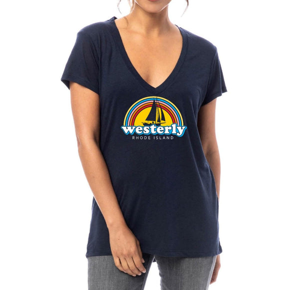 Navy Silky Women's V-Neck Shirt with a picture of a retro rainbow, a silhouette of a sailboat and the words Westerly Rhode Island.