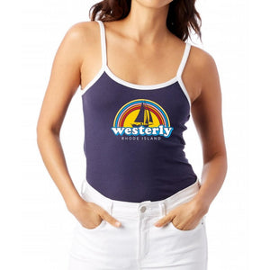 Rainbow Sailboat Navy and White Women's Camisole Ringer Tank Top
