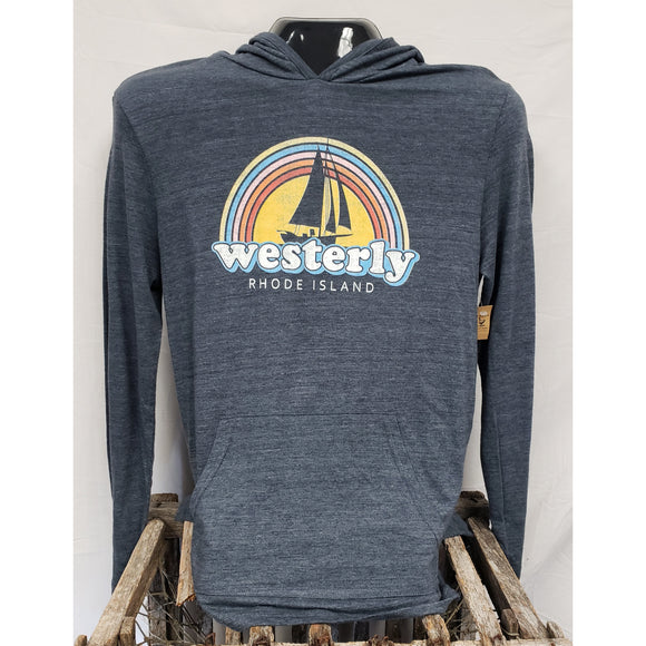 Rainbow Sailboat Eco True Navy Unisex Hooded Long Sleeve Tee