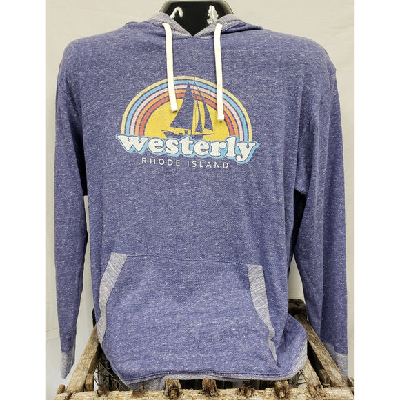 Rainbow Sailboat Purple Mélange French Unisex Pullover Hoodie