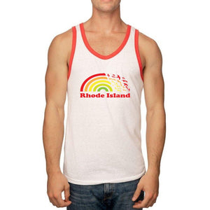 White Tri Blend Ringer Tank Top with red binding on the neck and sleeves and a picture of a rainbow turning into seagulls and the words Rhode Island.