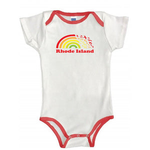 White Baby One Piece with red binding on the neck line, sleeves and legs with a picture of a rainbow turning into seagulls and the words Rhode Island.