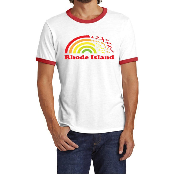 White Ringer Tee with red binding on the neck line and sleeves and a picture of a rainbow turning into seagulls and the words Rhode Island.