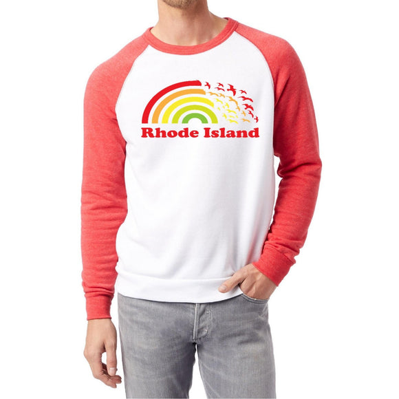 White Sweatshirt with red sleeves and a picture of a rainbow turning into seagulls and the words Rhode Island.