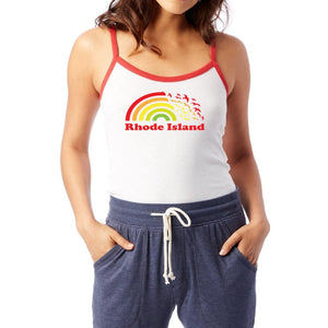 White petite women's camisole ringer tank top with red straps and a picture of a rainbow turning into seagulls and the words Rhode Island.