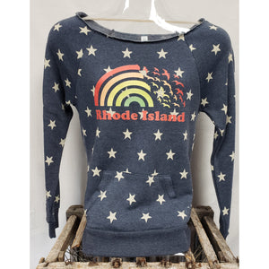 Rainbow Seagulls Navy and All Over Stars Off the Shoulder Ripped Neckline Women's Fleece Sweatshirt