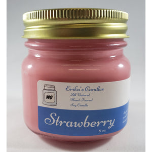 Strawberry All Natural Hand Poured Soy Wax Mason Jar Candle