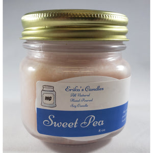 Sweet Pea All Natural Hand Poured Soy Wax Mason Jar Candle