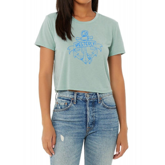 Westerly Anchor Dusty Blue Women's Flowy Cropped Tee