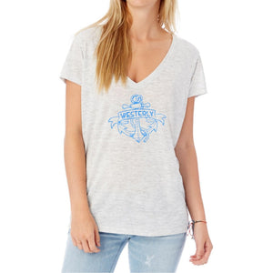 White Sheer Women's V-Neck Shirt with a tattoo anchor and a banner with the words Westerly in them.
