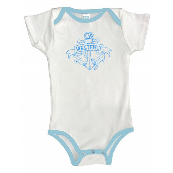 White Baby One Piece with Light blue binding on the neck line, and leg holes showing a tattoo of an anchor and a banner with the words Westerly in it.