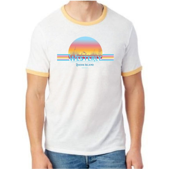 Westerly Beach White and Maize Vintage Unisex Ringer Tee