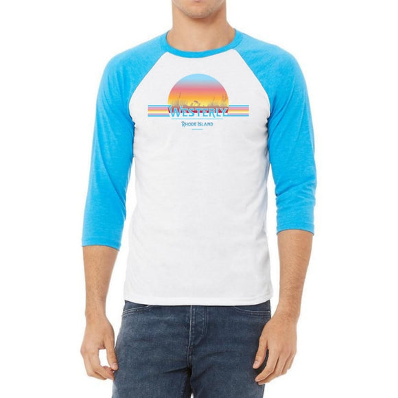 Westerly Beach White and Neon Blue Vintage Unisex Baseball Tee