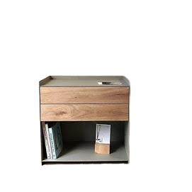 Wooden Steel Bedside Table in Teak Natural