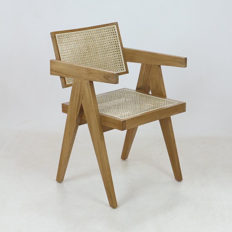 Jeanneret Dining Chair in Teak Natural Round Weave