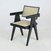 Jeanneret Dining Chair in High Shine Black Round Weave