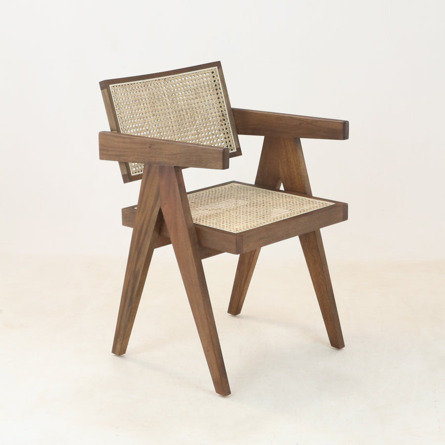 Jeanneret Dining Chair Mid Brown Round Weave
