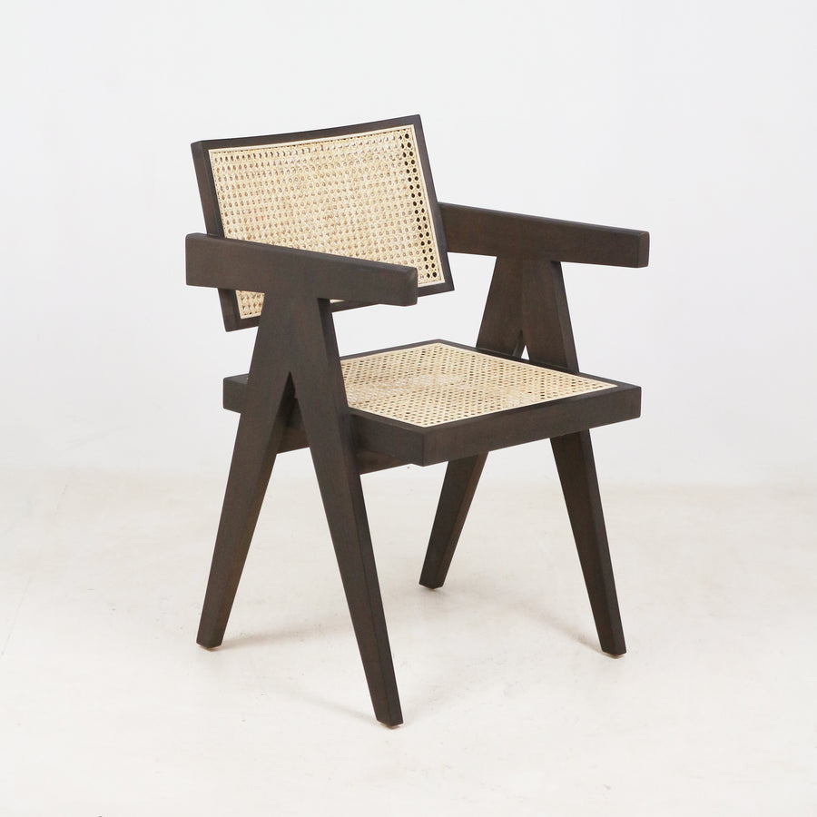 Jeanneret Dining Chair in Walnut Round Weave