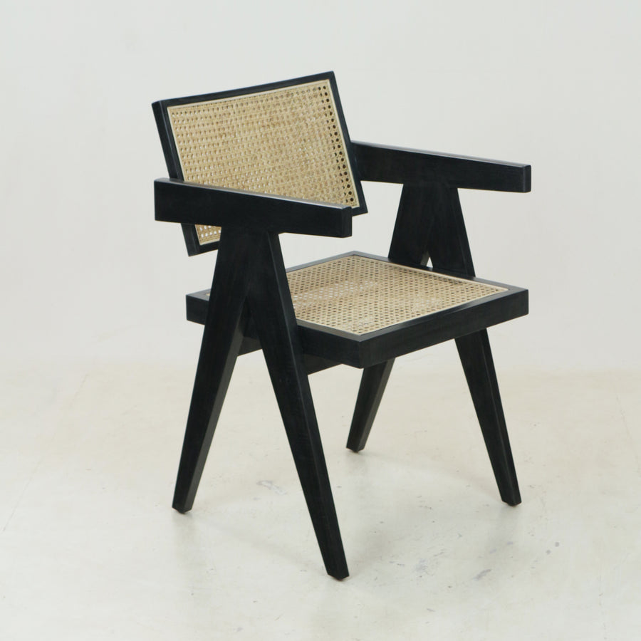 Jeanneret Dining Chair in Matt Black Round Weave