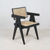 Jeanneret Dining Chair in Matt Black Traditional Weave