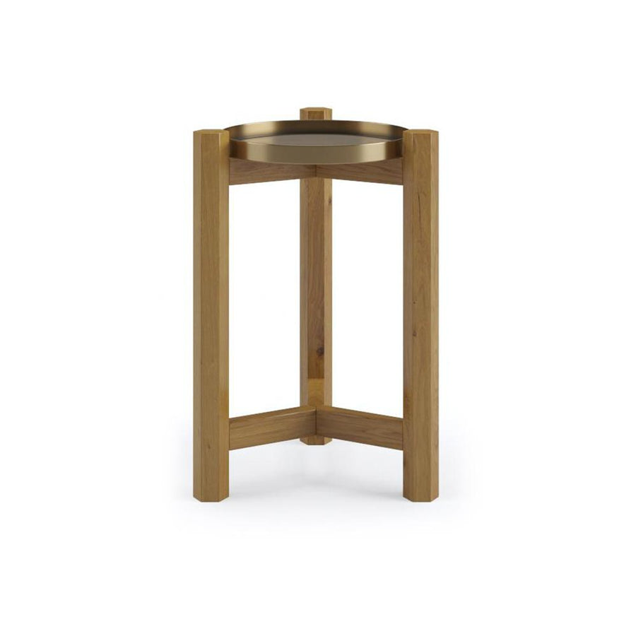 Elemental Brass Tray Side Table in Teak