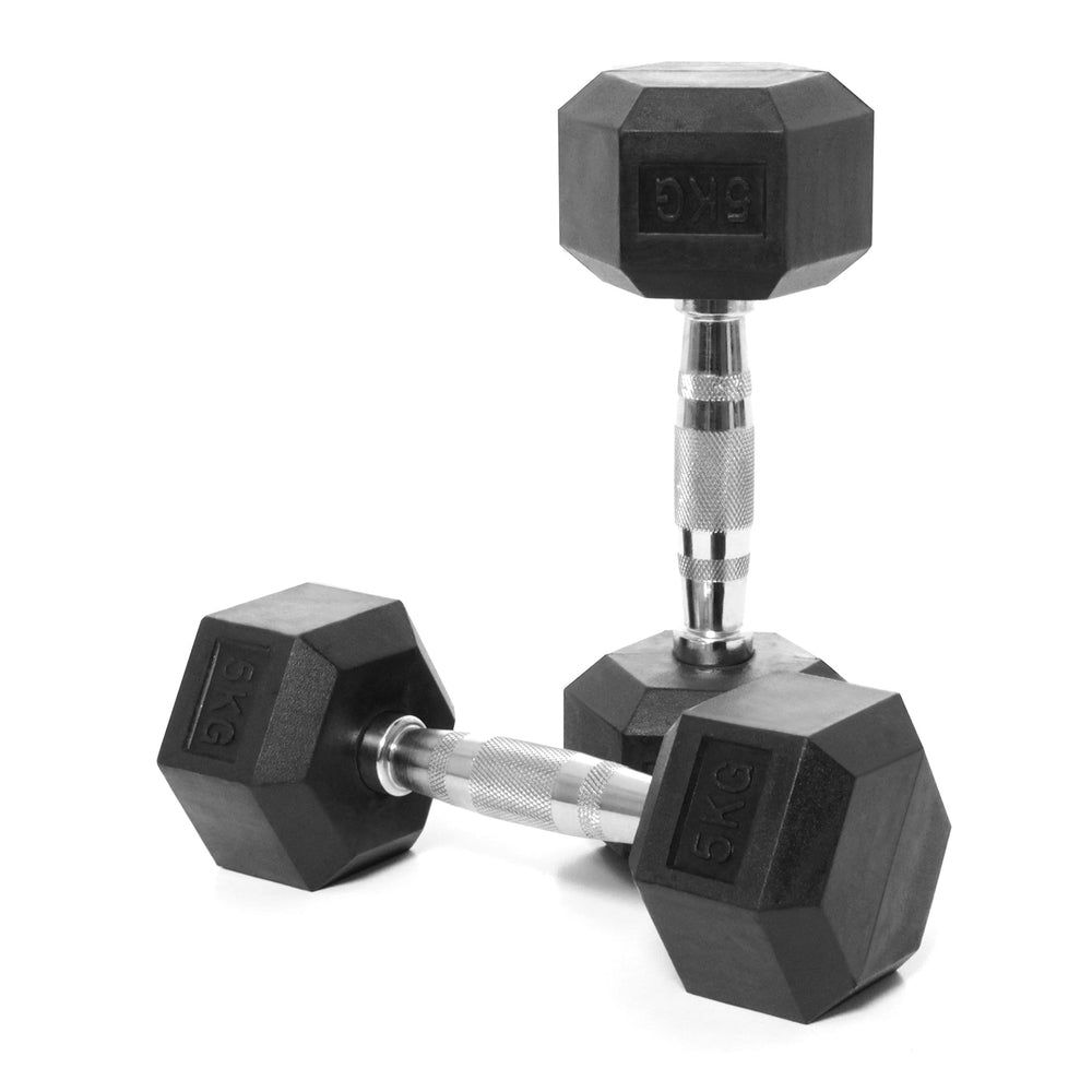 Elite Home Workout 2 x 5KG Hex Dumbbells (Pair)