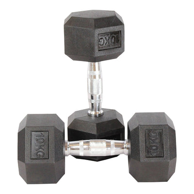 Elite Home Workout 2 x 10KG Hex Dumbbells (Pair)