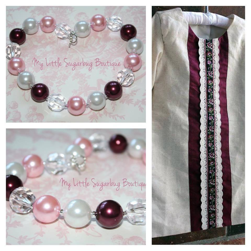Cheeky Plum Little Linen Dress w/ Necklace
