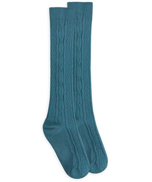 Cable Knee High Socks - Teal
