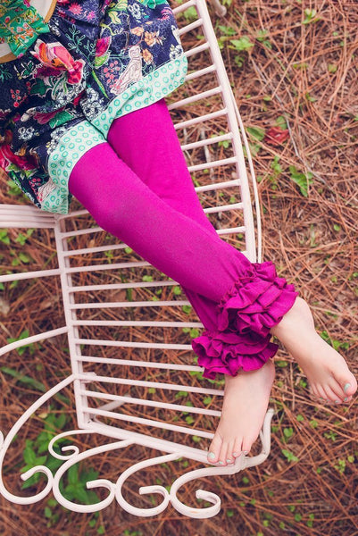Plum Ruffle Leggings