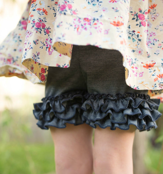 Faux Denim Ruffle Shorts (Running slightly small)