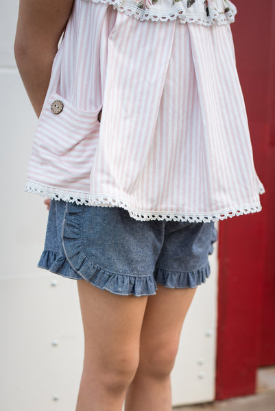 Chambray Side Ruffle Shorties Running Small)