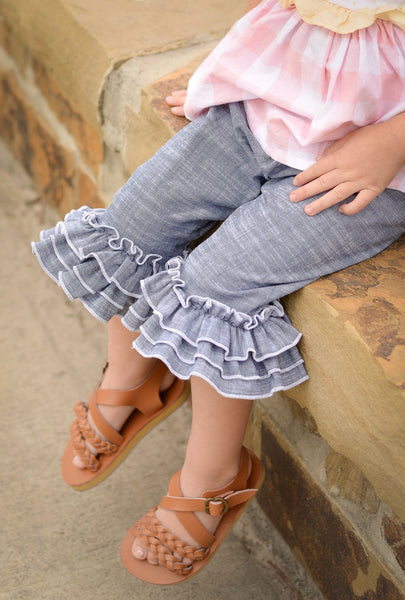 *NEW* Chambray Ruffle Capris