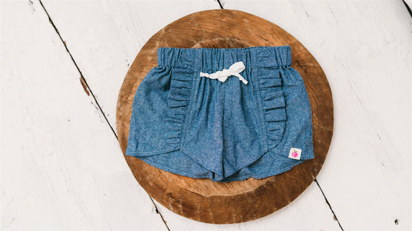 Chambray Petal Shorties (Running Small)