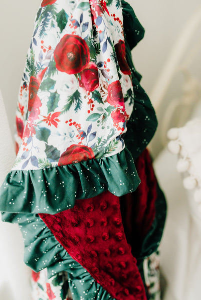 Holly Jolly Ruffle Minky Blanket - Extra Large