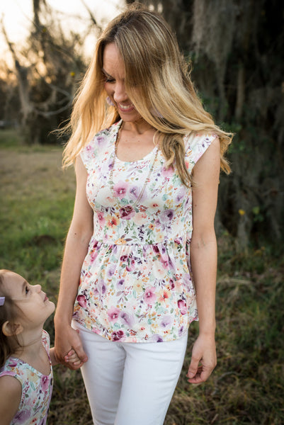Womens Peplum Top - Wildflower