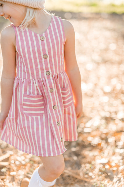 Nora Dress - Mauve Stripe