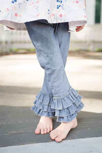 Chambray Ruffle Pants