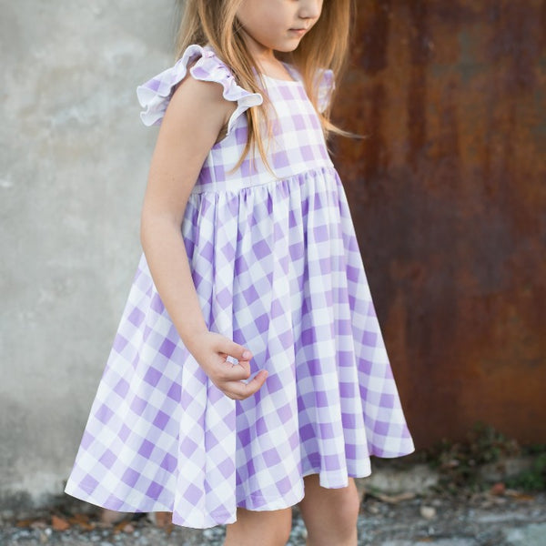 Penelope Knit Dress - Lilac Gingham