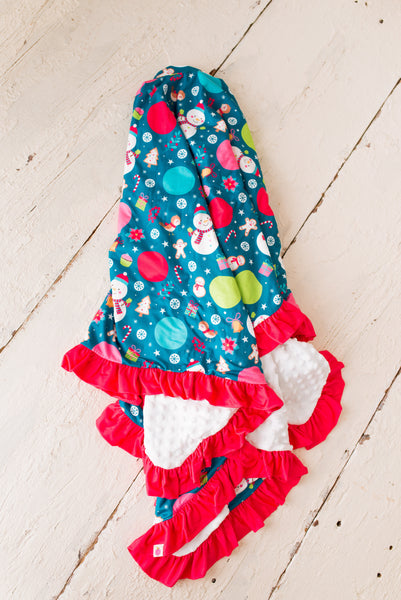 Snowman Minky Dot Ruffle Blanket - Extra Large