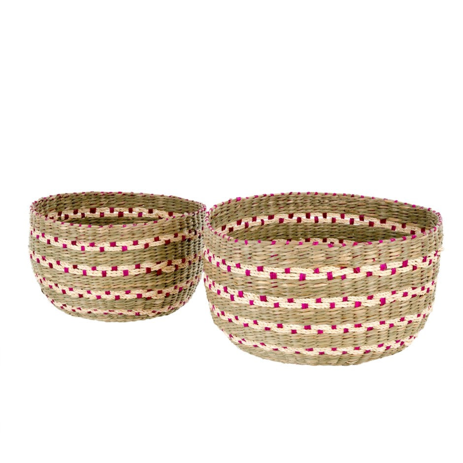 Pink Villa Seagrass Basket - Small