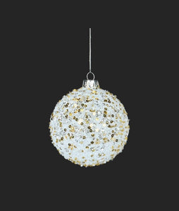 Ornament - White & Gold Glass