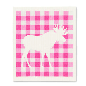 Swedish Cloth - Pink Gingham White Moose