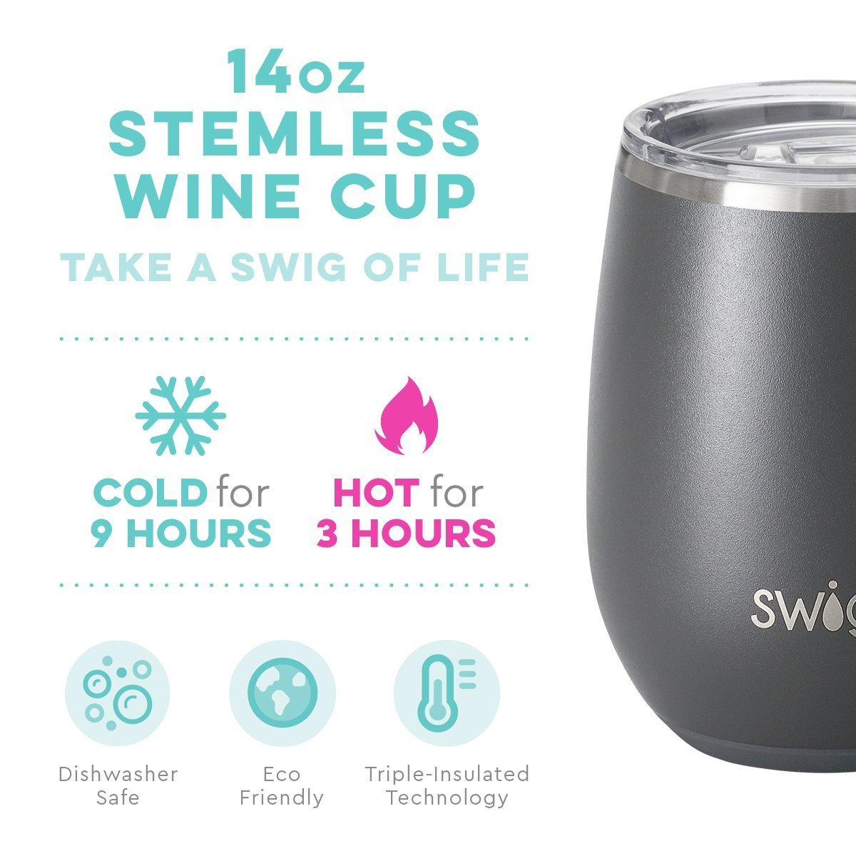 Swig - 14oz Wine Tumbler Matte Grey