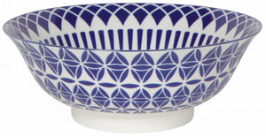 "Bowl - 8"" Blue Geometric"