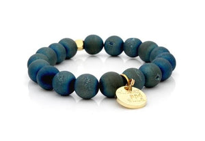 E&E Bracelet - Matte Blue Green Agate 10mm