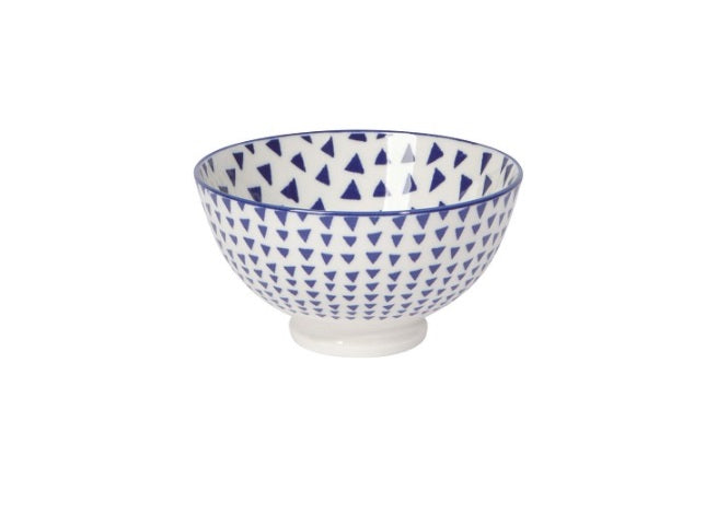 "Bowl - 4"" Blue Triangles"