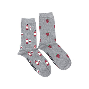 Women's Crew Socks - Red Wine & Grapes