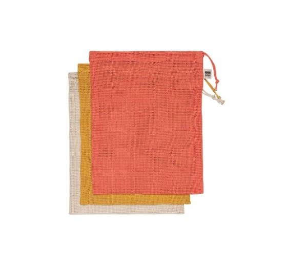 Cotton Mesh Produce Bags - s/3 Coral Mix